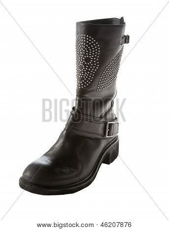 Skull Studded Black Leather Biker Strapped Boot