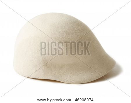 Stylish Cloche-like White Wool Felt Cap