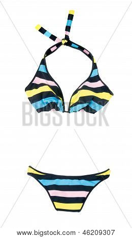 Halter Pastel Colors Striped Bikini