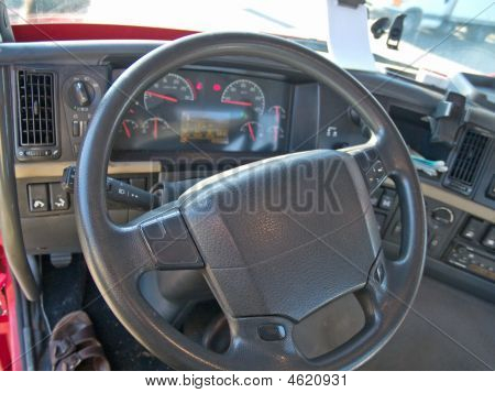 Steering Wheel And Instrument Panel Of A Truck