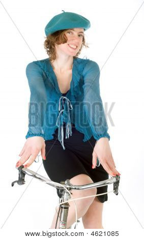 French Woman Riding Bicycle