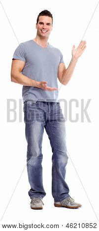 Young man presenting a copyspace. Isolated on white background.