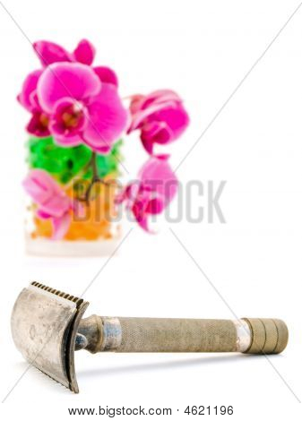 Orchid In Glass And Shave Razor