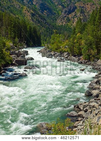 A River Flowing Through A Mountain Forest - Wenatchee River Washington Usa