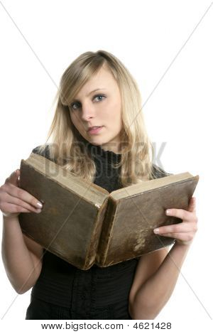 Blond Beautiful Student Woman Reading Old Book