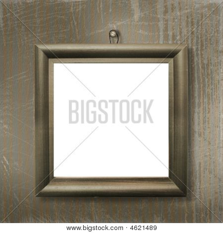 Wooden Frame For Picture Or Photo On The Striped Background