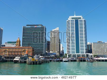 Auckland harbor and  Downtown Ferry Terminal  in Auckland, New Zealand