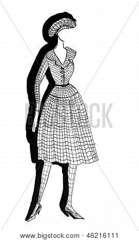 Tweed Dress With A Pleated Skirt In 50Th Years