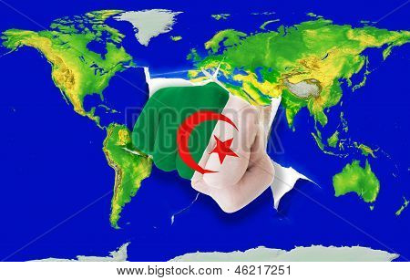 Fist In Color  National Flag Of Algeria    Punching World Map