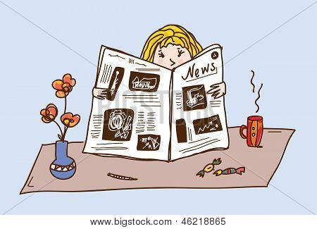 Girl reading newspaper at the tea table