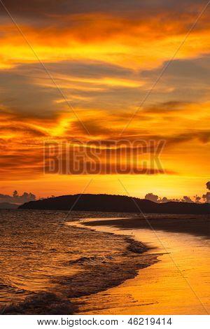 Tropcal beach sunset. Andaman sea,  Krabi, Thailand