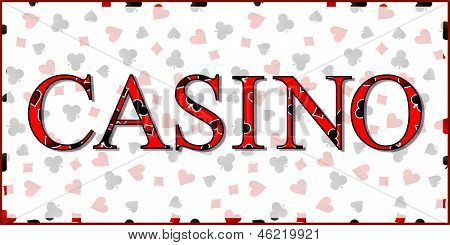 Casino Banner with Playing Cards Suits Background