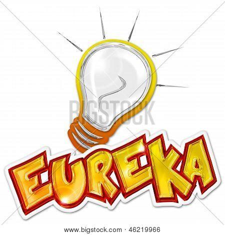 eureka word and light bulb