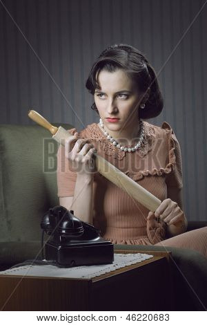 Angry Wife Waiting For Her Husband