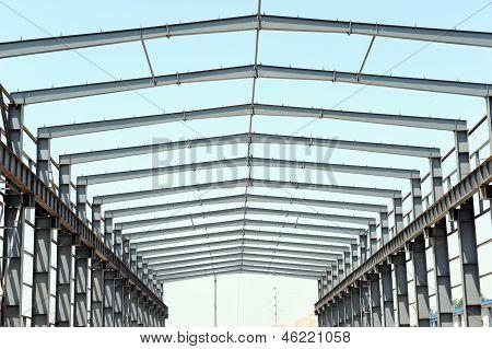 Edificio sitio de construcción de la estructura de marco de acero