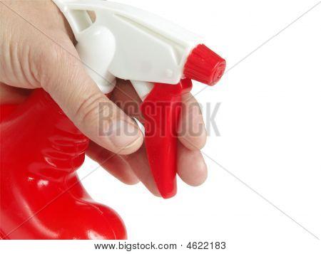 Red Sprayer In Hand
