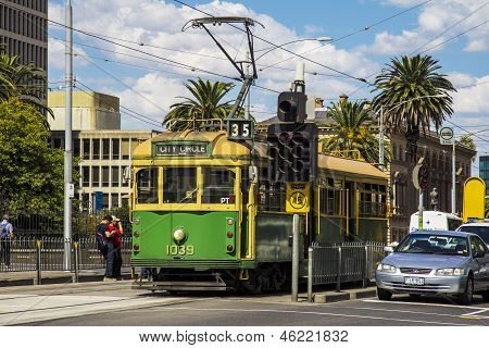 Melbourne, Australia - Mar 20Th: A City Circle Tram Waits At A Stop Light On March 20Th 2013. The Tr