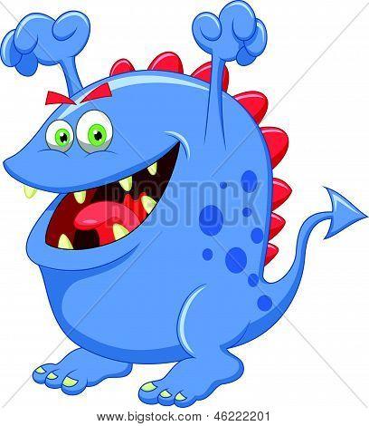 Caricatura lindo monstruo azul