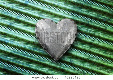 Galvanized Metal Heart On Metal