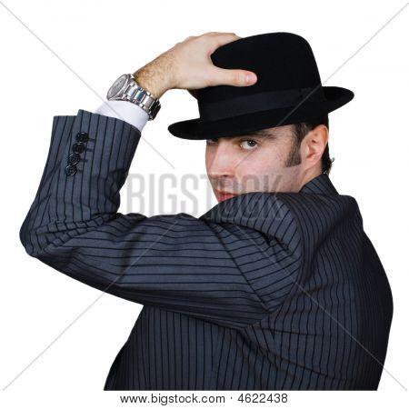 Retro Businessman Holding Hat