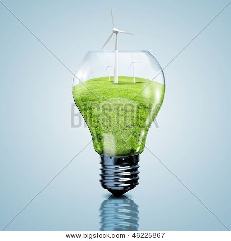 Electric light bulb and wind meels inside it