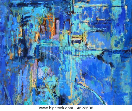 Abstract Painting In Blues
