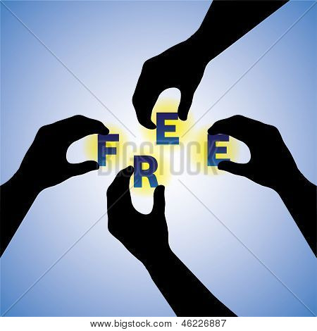 Concept Vector Graphic- People Hands Silhouette Arranging Free Word