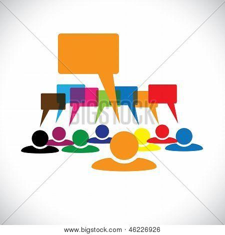 Conceito de vetor gráfico-líder & trabalhadores Talking(speech Bubbles)