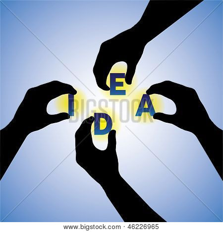 Concept Vector Graphic- People Hands Silhouette Arranging Idea Word