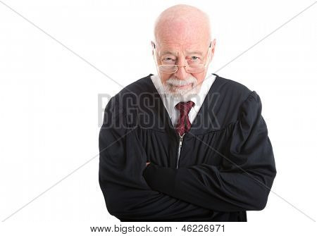 Wise old judge isolated on white background, with a skeptical expression.
