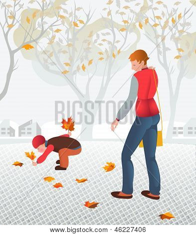 Young Mother Walking With Her Child Collecting Fallen Leaves