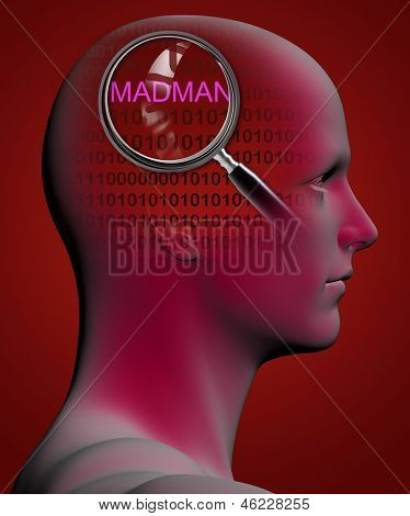 Profile Of A Man With Close Up Of Magnifying Glass On Madman