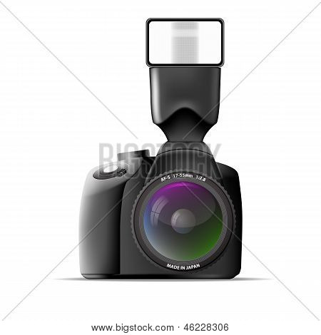 Realistic Camera With External Flash. Vector Illustration