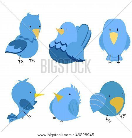 Vector funny birds icon set