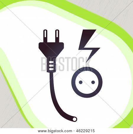 Plug And Socket. Retro-style Emblem, Icon, Pictogram. Eps 10 Vector