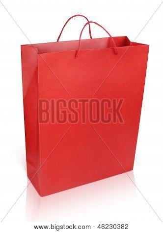 Red Shopping Bag On White