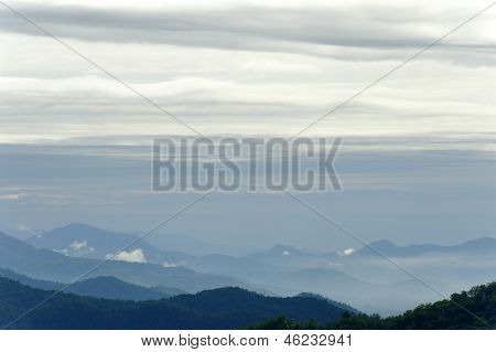 Layered Sky And Blue Mountains