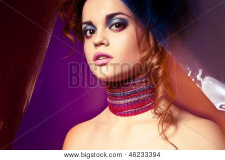 Portrait of beautyful woman with colorful makeup