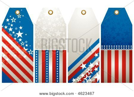 Four Labels With Elements Of Usa Banner