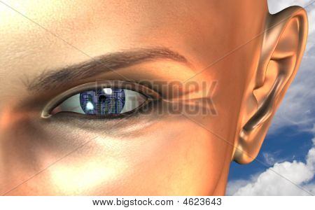 Circuit Board Eye Close Up