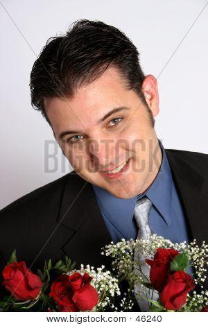 Man Holding Roses.