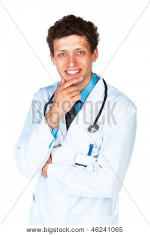 Portrait Of A Smiling Male Doctor On White Background