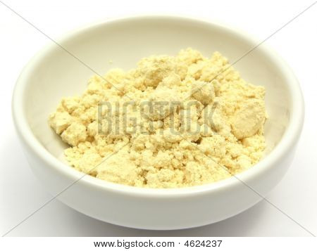 Soy Meal In A Little White Bowl Of Chinaware On White