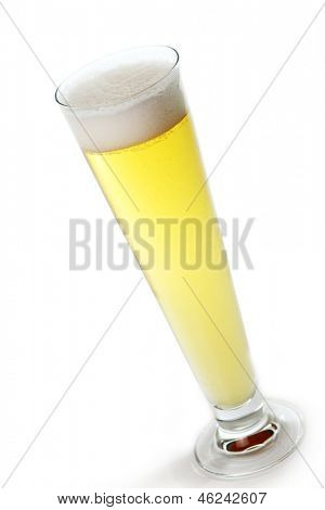 Fresh draft light beer in a glass isolated over white background