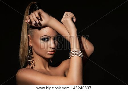 Beautiful caucasian woman with ponytale and makeup