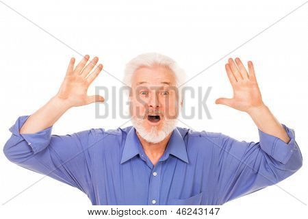 Angry elderly man with beard isolated over white background