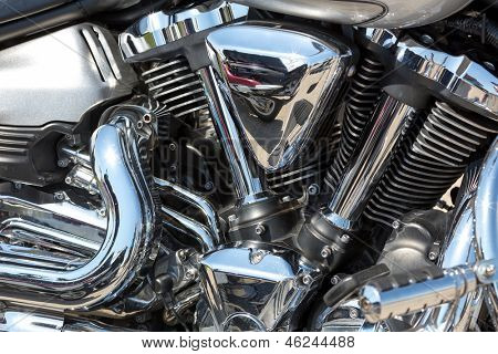 Closeup of chromed motorcycle engine