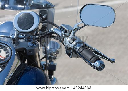 Chromed handlebar of a motorcycle