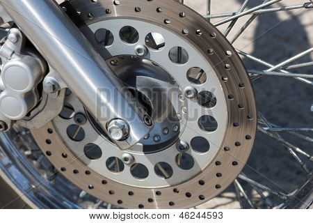 Detail of the front wheel of a motorcycle with disc brake