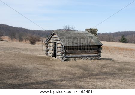Log Cabin In Field